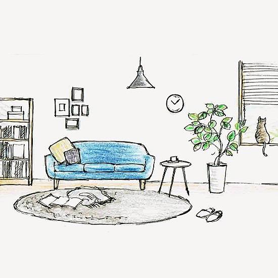 【今日のスケッチ】ソファの色を替えてみたくて、理想の部屋をスケッチ。
