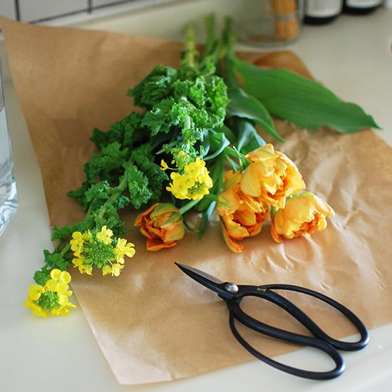 【店長コラム| 今日の花】春が待ち遠しくなる菜の花アレンジと、花ばさみ。