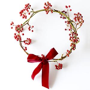 【ハンドメイドの花飾り】第6話:リース台を使わない♪ かんたんクリスマスリースの作り方。