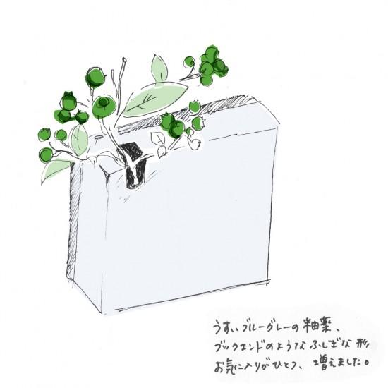 【今日のスケッチ】栃木・益子の陶器市で出会った、お気に入りの花器。