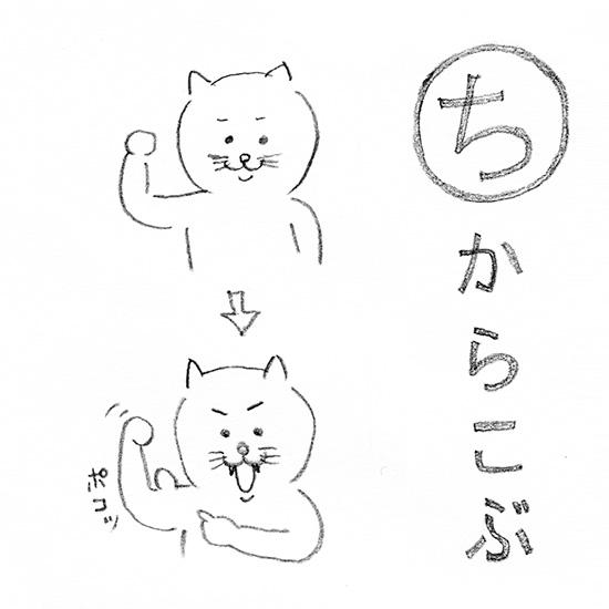 【今日のスケッチ】「ち」から始まるネコカルタ。