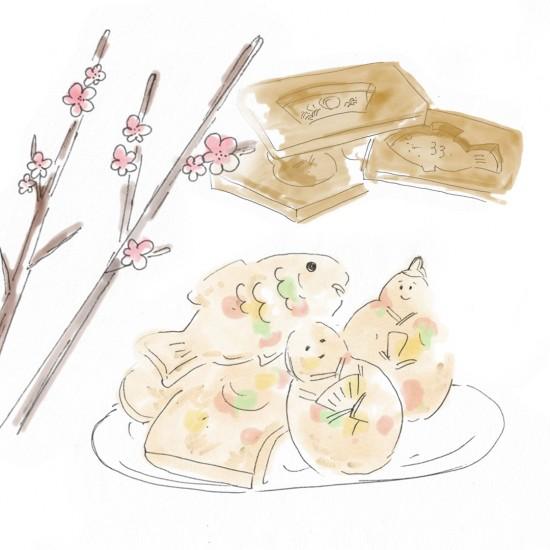 【今日のスケッチ】ひな祭りのお菓子が、思いおこさせる郷里。