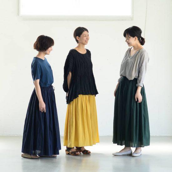 【着用レビュー】soilのロングスカートを、身長差のあるスタッフ3名が履いてみました!