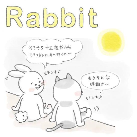 【ネコかるたイングリッシュ】「R」から始まる…「rabbit」