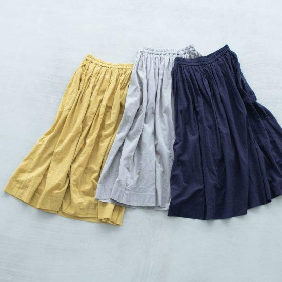 【着用レビュー】当店オリジナルの「ギャザースカート」を、身長の違う3名のスタッフが着てみました。